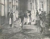 Preparativi per l'apertura della Camera dei Deputati. Le pulizie