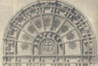 Il soffitto dell'aula in legno di quercia e con vetrata del Beltrami