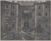 Il cortile del Fontana dopo la demolizione dell'Aula Comotto