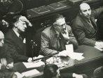 Scelba, De Gasperi, Pacciardi durante una seduta del V governo De Gasperi (di lato si intravede Einaudi)