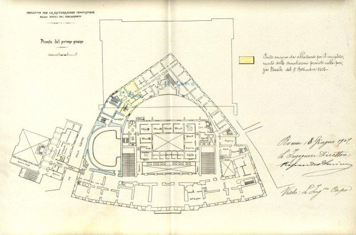 Progetto per la sistemazione provvisoria degli uffici del Parlamento, pianta del primo piano