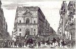 """Festeggiamenti popolari a Napoli per la proclamazione della Costituzione del 1848. Stampa d'epoca. Titolo originale: """"Toledo all'Arco dello Spirito Santo, nel giorno 29 gennaio 1848"""""""