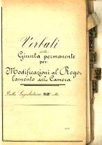 Registro dei Verbali della Giunta permanente per le modifiche al Regolamento ASCD,Archivio della Camera Regia, Giunta per il Regolamento